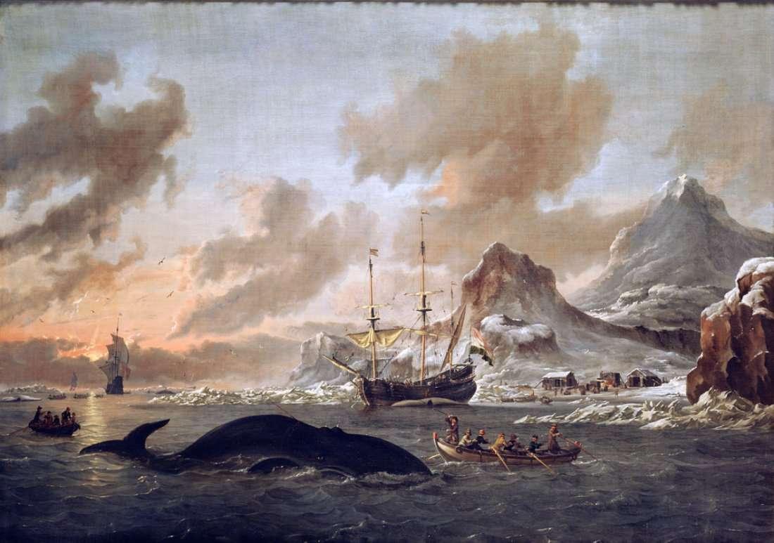 1280px Walvisvangst bij de kust van Spitsbergen   Dutch whalers near Spitsbergen Abraham Storck 1690