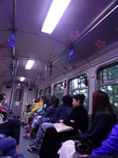 Les wagons d'Alishan équipés comme des métros de poignées pour les voyageurs debout