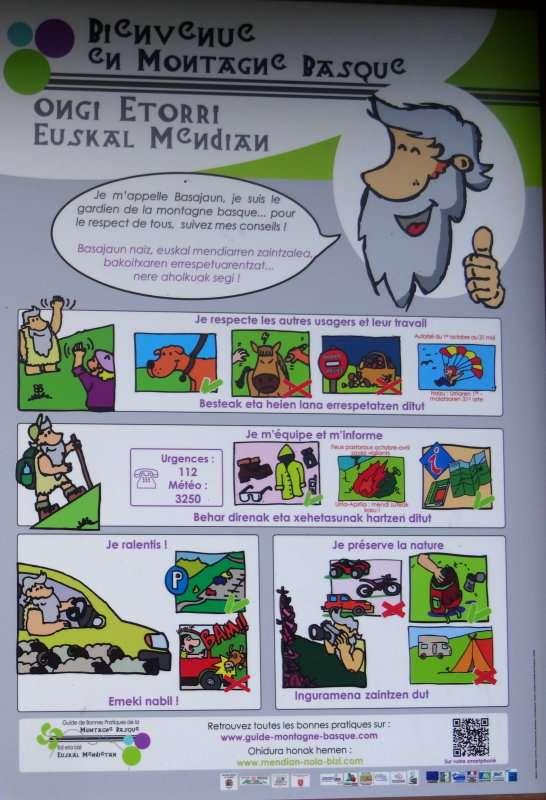 3 Basajaun le gardien de la montagne basque indique les bons comportements à adopter par le promeneur.