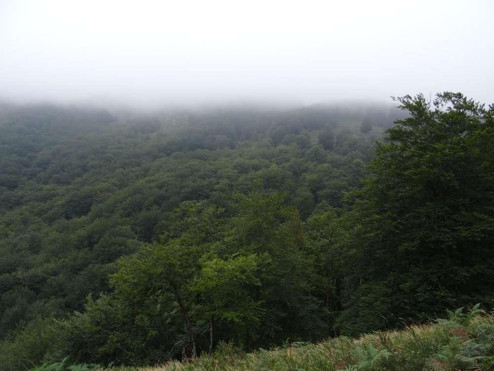 Vue compromise - sommet de l'Autza coiffé d'un gros nuage bien stable