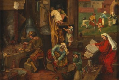 An alchemist. Oil painting after Pieter Bruegel Wellcome L0076171
