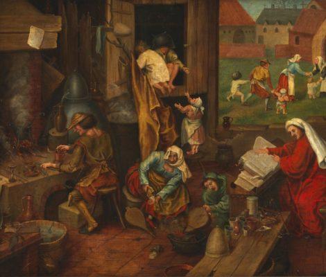 An alchemist. Oil painting after Pieter Bruegel Wellcome L0076171