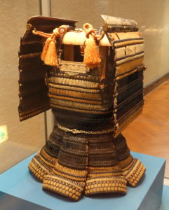 a4 Haramaki type armor with black leather lacing in kata susotori style Muromachi period 15th century   Tokyo National Museum   DSC05937