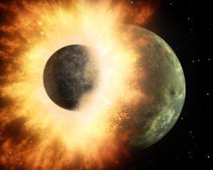 terre lune formation collision representation artistique