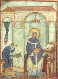 Registrum gregorii san gregorio magno ispirato dalla colomba 983 miniatura treviri stadtbiblithek 198x27 cm