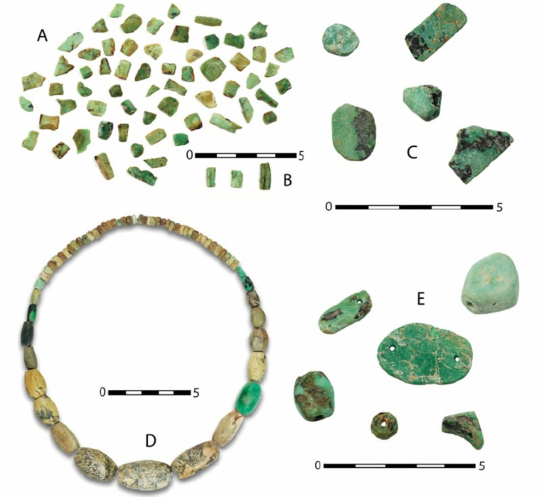 Variscite found in the Gava mines Roughly faceted fragments a broken beads b and a